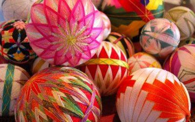 Bombki z haftem Temari