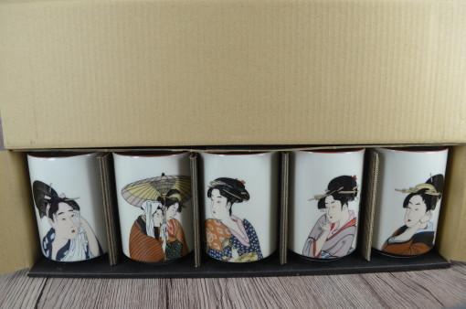 japońskie kubki, komplet kubków, gejsze