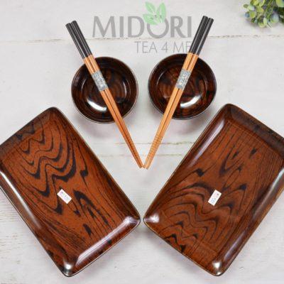Mokuzai Wood Look Sushi set, zestaw do sushi brązowy, zestaw do suhi drewniany, zestaw do sushi, tokyo design studio