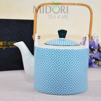 Geo Electric Teapot light blue, Porcelanowy czajnik Geo Electric