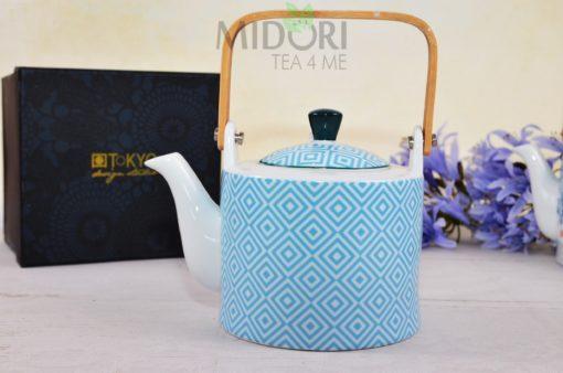 Geo Electric Teapot light blue, Porcelanowy czajnik Geo Electric