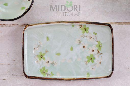 Green Cosmos Rectangle Plate, Prostokątny talerz w kwiaty wiśni
