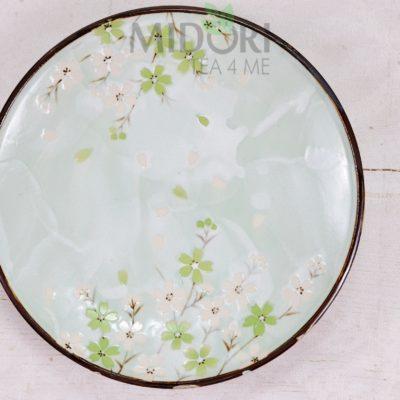 Green Cosmos Plate, Talerze w kwiaty wiśni, Talerz w kwiaty wiśni, Talerz w Kwiaty Wiśni