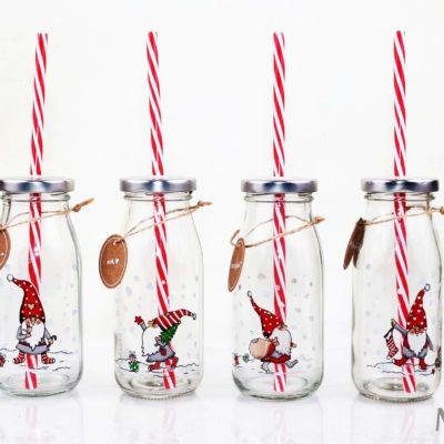 Świąteczna butelka ze słomką, Świąteczna butelka, butelka ze słomką, butelka na prezent, butelka na prezent dla dziecka, butelka dla dziecka z mikołajem, butelka z mikołajem, butelka z krasnalem, butelka z krasnoludkiem, butelka z mikołajem