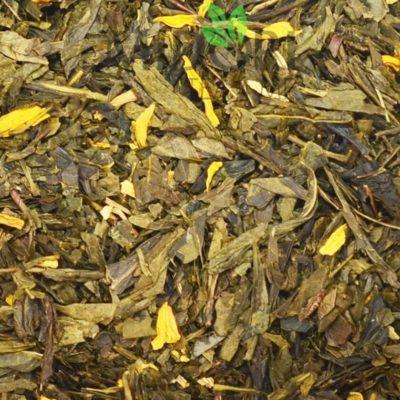 Zielona herbata Sencha z Mango, Sencha z Mango, zielona herbata owocowa, herbata z mango, herbata cytrusowa, pyszna herbata, mieszanka owocowa