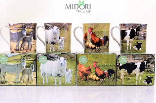 Kubek Farmyard LESSER &PAVEY , Kubek Farmyard, LESSER &PAVEY , kubek z owcą, kubek z krową, kubek z osłem, kubek z kurą