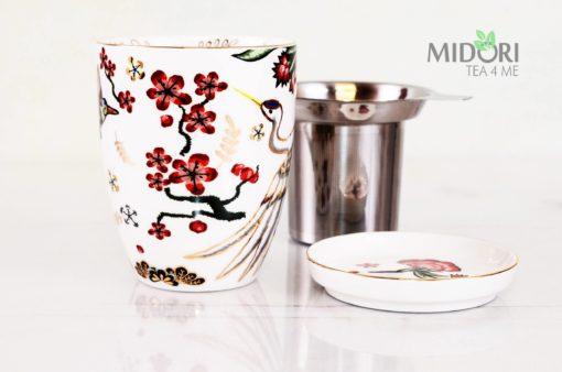 porcelanowy kubek z zaparzaczem i spodkiem żuraw, kubek z sitkiem, kubek do parzenia herbaty, piękna porcelana, zestaw do herbaty, Porcelanowy kubek Żuraw
