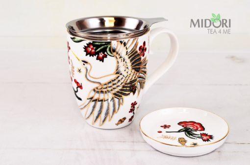 Porcelanowy kubek z zaparzaczem i spodkiem Żuraw, zaparzacz na prezent, porcelanowy kubek z zaparzaczem, kubek z żurawiem, porcelanowy zaparzacz, porcelanowy kubek, kubek z porcelany ze spodkiem