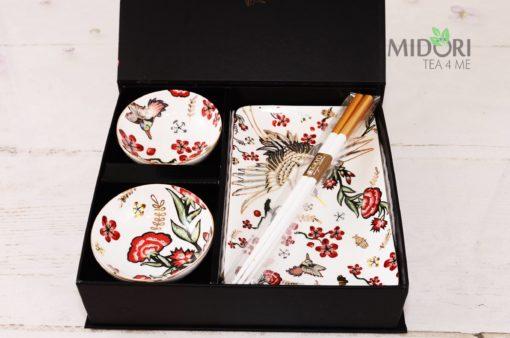 Zestaw do sushi Żuraw, komplet naczyń, komplet naczyń do sushi, zestaw do sushi, talerze do sushi, porcelana japońska, ceramika japońska, japońska porcelana, japońska ceramika