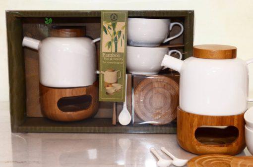 Komplet do herbaty, porcelanowy zestaw do herbaty, bambusowy zestaw do herbaty, porcelanowy komplet do herbaty, zestaw do herbaty z podgrzewaczem