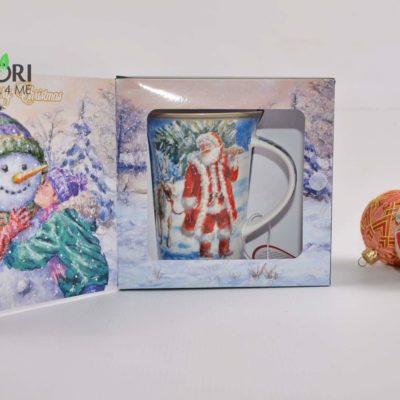 Kubek świąteczny 001400 z mikołajem w pudełku