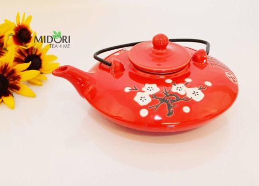 dzbanek do herbaty, ceramiczny, czerwony, czajniczek z sitkiem 2