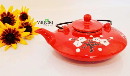 dzbanek do herbaty, ceramiczny, czerwony, czajniczek z sitkiem 5