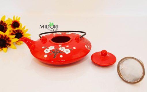 dzbanek do herbaty, ceramiczny, czerwony, czajniczek z sitkiem, chinski styl