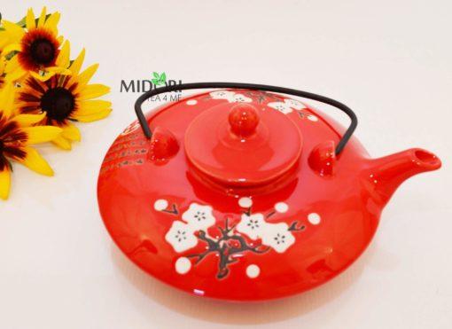 dzbanek do herbaty, ceramiczny, czerwony, czajniczek z sitkiem, imbryk czerwony
