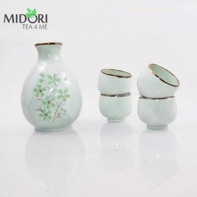 komplet do sake green cosmos, zestaw do sake,