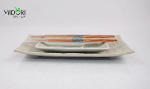 komplet do sushi z pałeczkami, nakrapiana ceramika, zestaw do sushi, ceramika japońska, porcelana z japonii, japońska porcelana
