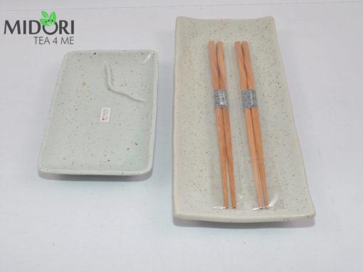komplet do sushi z pałeczkami, nakrapiana ceramika, zestaw do sushi, ceramika japońska, porcelana z japonii, japońska porcelana3