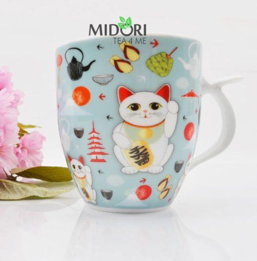 ceramiczny kubek lucky cat, kubek do herbaty, kubek z kotem na szczęście, kubek z japonskim kotem, maneki neko, lucky cat, kubek na prezent, kubek na szczęście, kubek kawaii 1 ( (3)