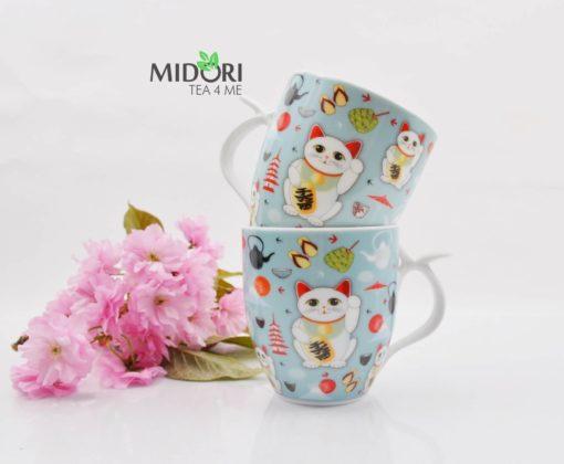 ceramiczny kubek lucky cat, kubek do herbaty, kubek z kotem na szczęście, kubek z japonskim kotem, maneki neko, lucky cat, kubek na prezent, kubek na szczęście, kubek kawaii 1 (5)