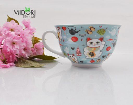 filiżanka ceramiczna lucky cat, do herbaty, filiżanka z kotem na szczęście, filiżanka z japonskim kotem, maneki neko, lucky cat, kawaii,filiżanka bardzo duża 2