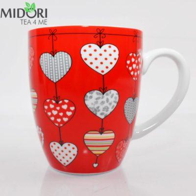 kubek serce czerwony, kubek w serca, ceramiczny kubek, porcelanowy kubek, kubek na prezent, kubek walentynki, dla zakochanych, kubek do herbaty, kubek do kawy 4