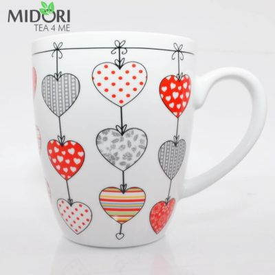 kubek serce biały, kubek w serca, ceramiczny kubek, porcelanowy kubek, kubek na prezent, kubek walentynki, dla zakochanych, kubek do herbaty, kubek do kawy 2
