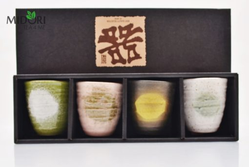 zestaw czarek japońskich AKAI, komplet czarek do herbaty, komplet japońskich czarek, kubki japońskie, kubki do herbaty, naczynia do herbaty, filiżanka do espresso, recznie malowana ceramika2