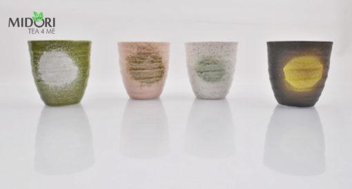 zestaw czarek japońskich AKAI, komplet czarek do herbaty, komplet japońskich czarek, kubki japońskie, kubki do herbaty, naczynia do herbaty, filiżanka do espresso, recznie malowana ceramika4