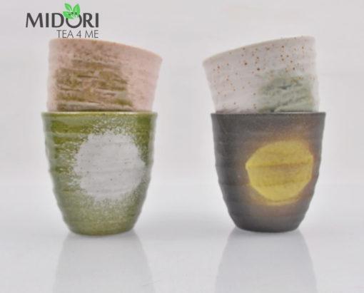 zestaw czarek japońskich AKAI, komplet czarek do herbaty, komplet japońskich czarek, kubki japońskie, kubki do herbaty, naczynia do herbaty, filiżanka do kawy, recznie malowana ceramika 15