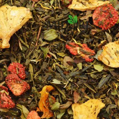 zielona herbata z białą truskawka z ananasem, herbata z owocami, herbata zielona z dodatkami, biała herbata, naturalna herbata, dobra herbata, pyszna 3 (4)