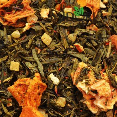 zielona herbata z karambolą i mango, herbata z owocami, zielona herbata z dodatkami, sypana herbata, naturalna herbata, zdrowa herbata, herbata premium 1 (1