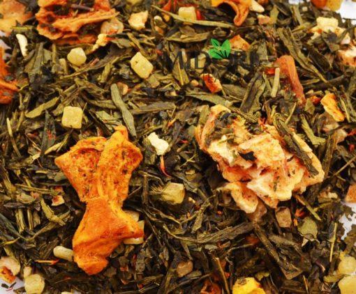 zielona herbata z karambolą i mango, herbata z owocami, zielona herbata z dodatkami, sypana herbata, naturalna herbata, zdrowa herbata, herbata premium 1 (1)