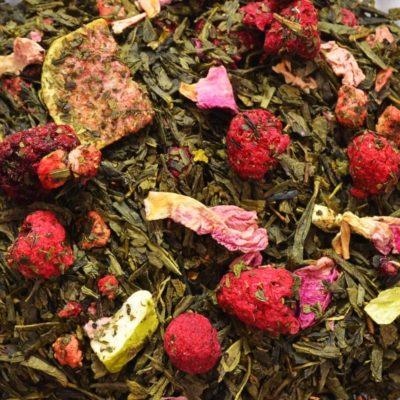 zielona herbata z malinami i figą, sypana zielona herbata, herbata z owocami, herbata naturalana, herbata z dodatkami, dobra zielona herbata, herbata dla konesera, 2