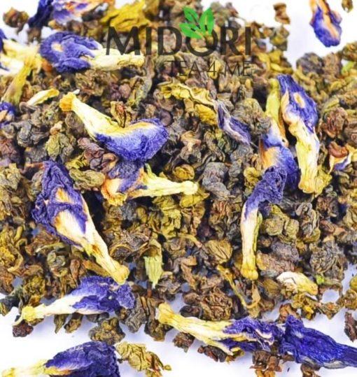 Herbata Oolong Butterfly, oolong z klitorią ternateńską, oolong z niebieską klitorią, niebieska herbata, herbata niebieska, niebieska klitoria, Herbata Oolong niebieska1