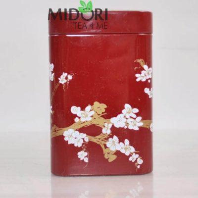 Metalowa puszka na herbatę, puszka kwiat wiśni czerwona, puszka na zioła, pojemnik na herbatę, ozdobna puszka japoński wzór