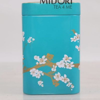 Metalowa puszka na herbatę, puszka kwiat wiśni turkusowa, puszka na zioła, pojemnik na herbatę, ozdobna puszka japoński wzór