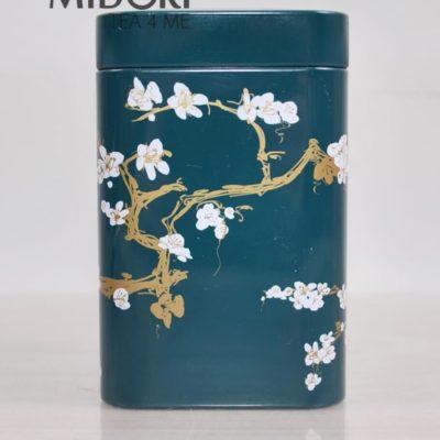 Metalowa puszka na herbatę, puszka kwiat wiśni zielona, puszka na zioła, pojemnik na herbatę, ozdobna puszka japoński wzór 1