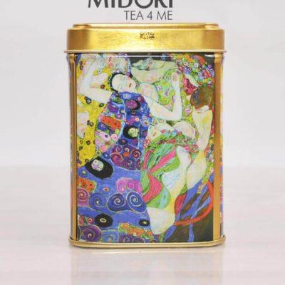 Puszki Gustaw Klimt dziewice, puszki na herbatę, pojemnik na herbatę, metalowa puszka malarstwo, Piękna puszka na zioła Klimt