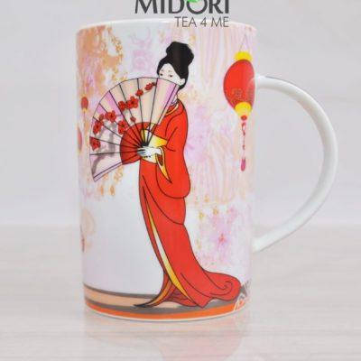 kubek japonka, kubek gejsza z wachlarzem, kubek styl japonski, kubek do herbaty, ceramiczny kubek z japonką,